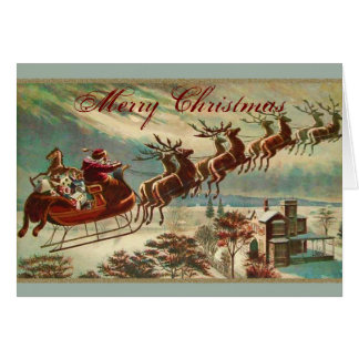 Santa and his Reindeer Sled Christmas Card