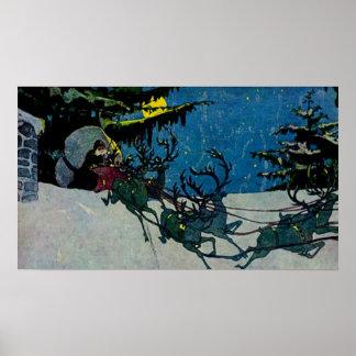 Santa and his Reindeer Vintage Artwork Poster