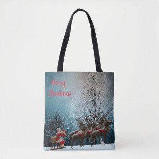 Santa and his reindeers tote bag