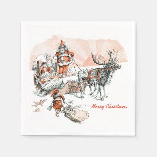 Santa and his Sleigh Cocktail Napkin Paper Serviettes