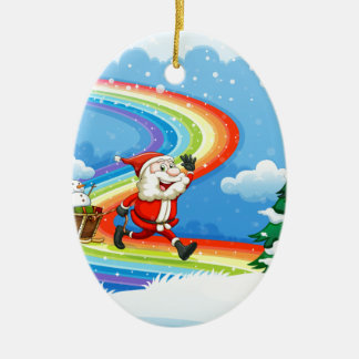 Santa and his sleigh walking at the rainbow ceramic ornament