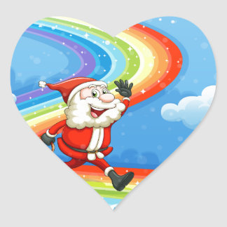 Santa and his sleigh walking at the rainbow heart sticker