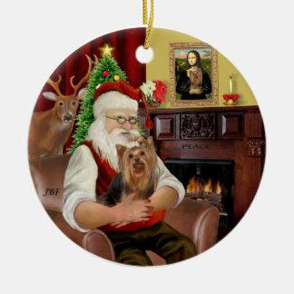 Santa and his Yorkie 7 Ceramic Ornament