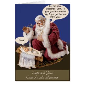 Santa and Jesus Make a Deal Card