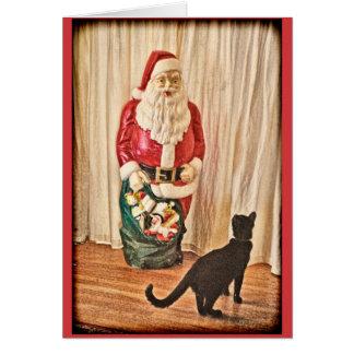 Santa and kitty greeting card