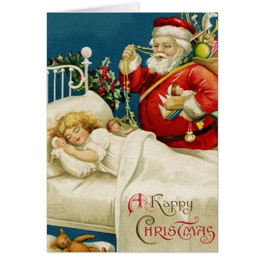 Santa and Little Sleeping Girl Christmas Card