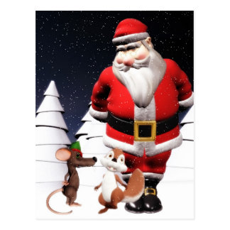 Santa and Mouse Christmas Postcard
