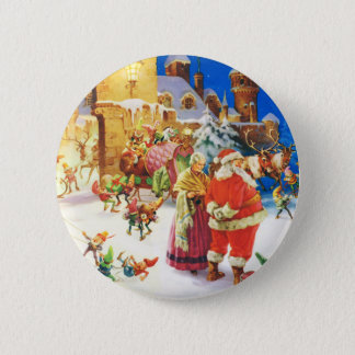 Santa and Mrs. Claus at the North Pole 6 Cm Round Badge