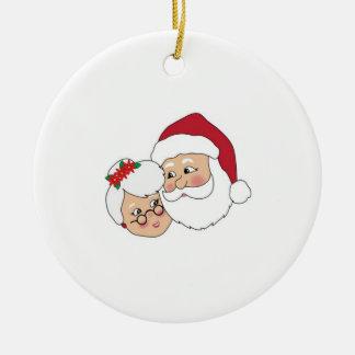 Santa and Mrs Claus Ceramic Ornament