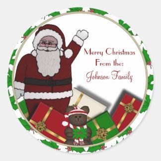 Santa and presents Christmas Labels