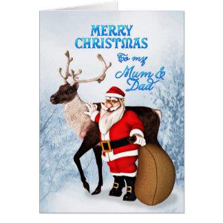 Santa and reindeer Christmas card for mum & dad