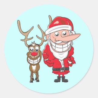 Santa and Reindeer Classic Round Sticker