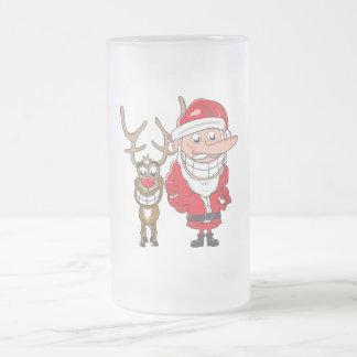 Santa and Reindeer Frosted Glass Mug