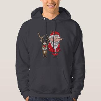 Santa and Reindeer Hooded Sweatshirts