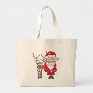 Santa and Reindeer Jumbo Tote Bag