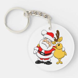 Santa and Reindeer Round Acrylic Key Chains