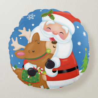 Santa and Reindeer Pillow