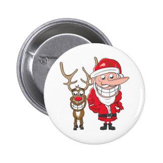 Santa and Reindeer Pinback Buttons