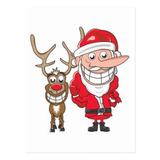 Santa and Reindeer Postcard