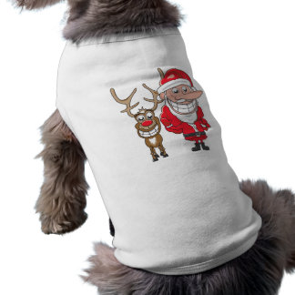 Santa and Reindeer Sleeveless Dog Shirt