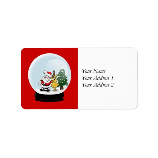 Santa and Reindeer Snowglobe Christmas Address Tag