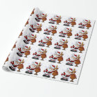 Santa and Reindeer Standing Arm in Arm Wrapping Paper