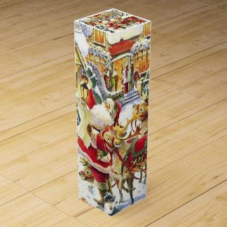 Santa and Reindeer Wine Box