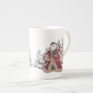 Santa and Reindeers Vintage Bone China Tea Cup