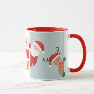 Santa and Rudolph Holiday Mug