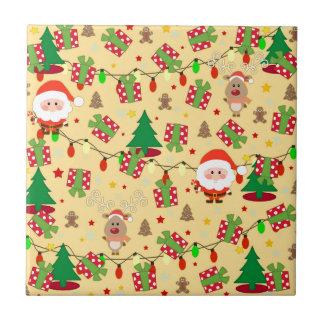 Santa and Rudolph pattern Ceramic Tile