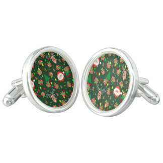 Santa and Rudolph pattern Cuff Links