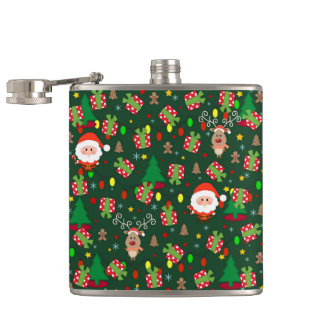 Santa and Rudolph pattern Hip Flask