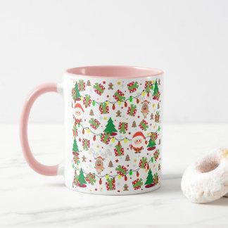 Santa and Rudolph pattern Mug