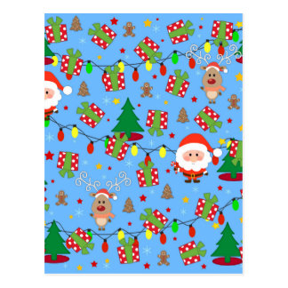 Santa and Rudolph pattern Postcard