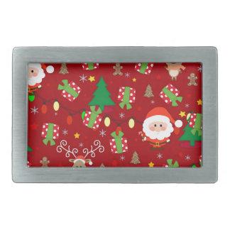 Santa and Rudolph pattern Rectangular Belt Buckles