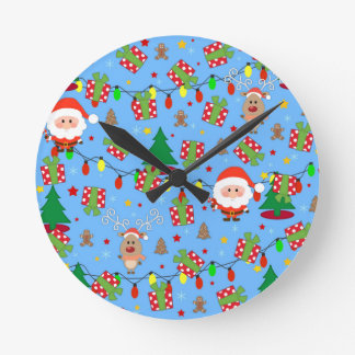 Santa and Rudolph pattern Round Clock
