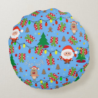 Santa and Rudolph pattern Round Cushion