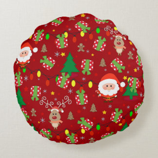Santa and Rudolph pattern Round Cushion