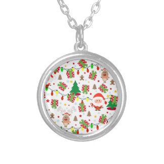Santa and Rudolph pattern Silver Plated Necklace