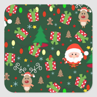 Santa and Rudolph pattern Square Sticker