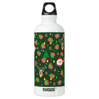 Santa and Rudolph pattern Water Bottle