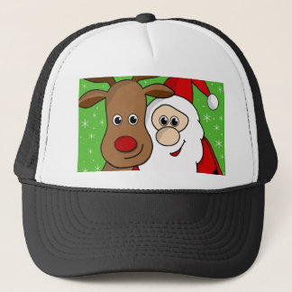 Santa and Rudolph sefie Trucker Hat