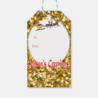 Santa and sleigh sparkly gold baubles gift tags