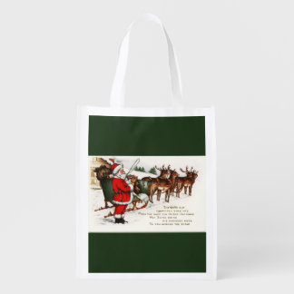 Santa and Sleigh with Reindeer Reusable Bag Market Totes