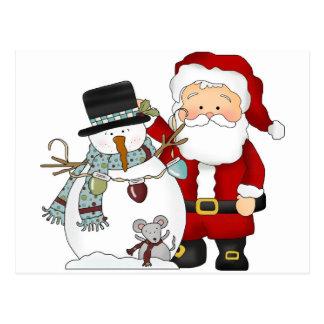 Santa and Snowman Postcard