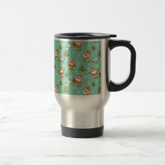 Santa and Teddy Bear Christmas Pattern. Stainless Steel Travel Mug
