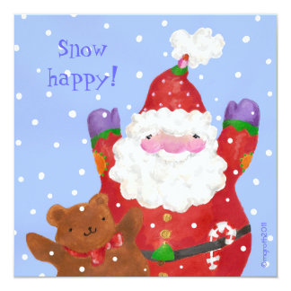 Santa and Teddy Xmas flat photo card 13 Cm X 13 Cm Square Invitation Card