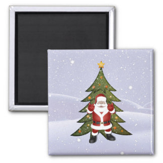 Santa and the Christmas Tree Square Magnet