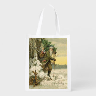 Santa and the Rabbits Reusable Grocery Bag