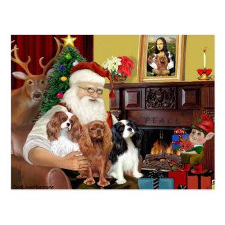 Santa and Three Cavaliers Postcard